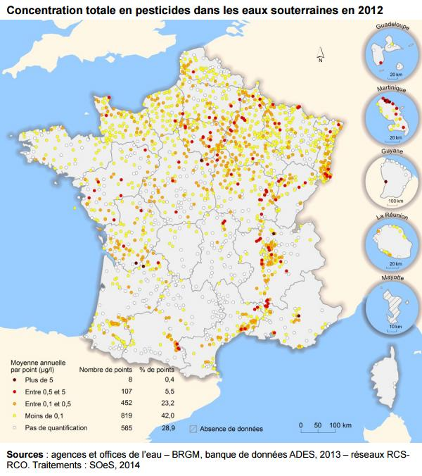 carte France pesticide